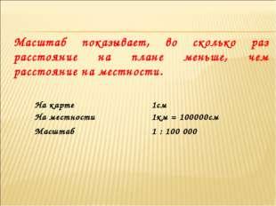 Масштаб показывает, во сколько раз расстояние на плане меньше, чем расстояние
