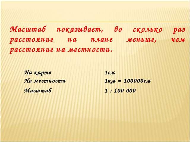 Масштаб показывает, во сколько раз расстояние на плане меньше, чем расстояние...