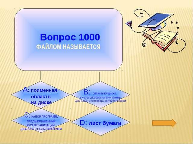 Вопрос 1000 ФАЙЛОМ НАЗЫВАЕТСЯ D: лист бумаги B: ОБЛАСТЬ НА ДИСКЕ, В КОТОРОЙ...