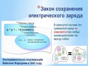 Закон сохранения электрического заряда Экспериментально подтверждён Майклом Ф