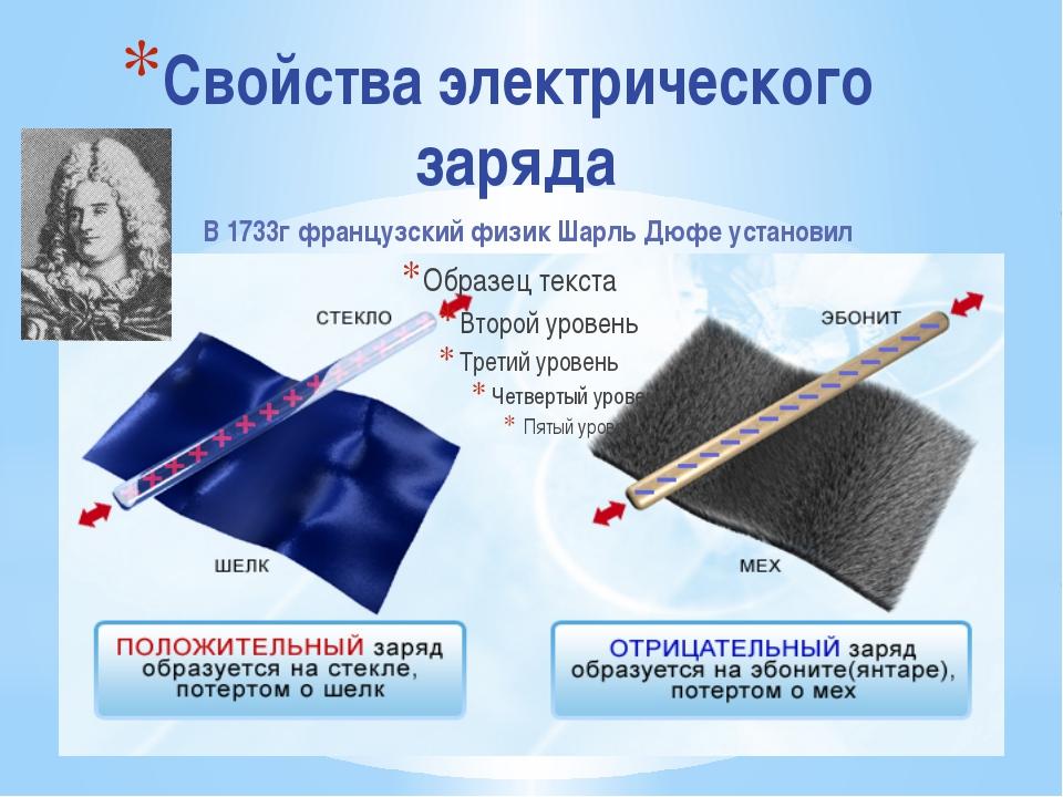 Свойства электрического заряда В 1733г французский физик Шарль Дюфе установил
