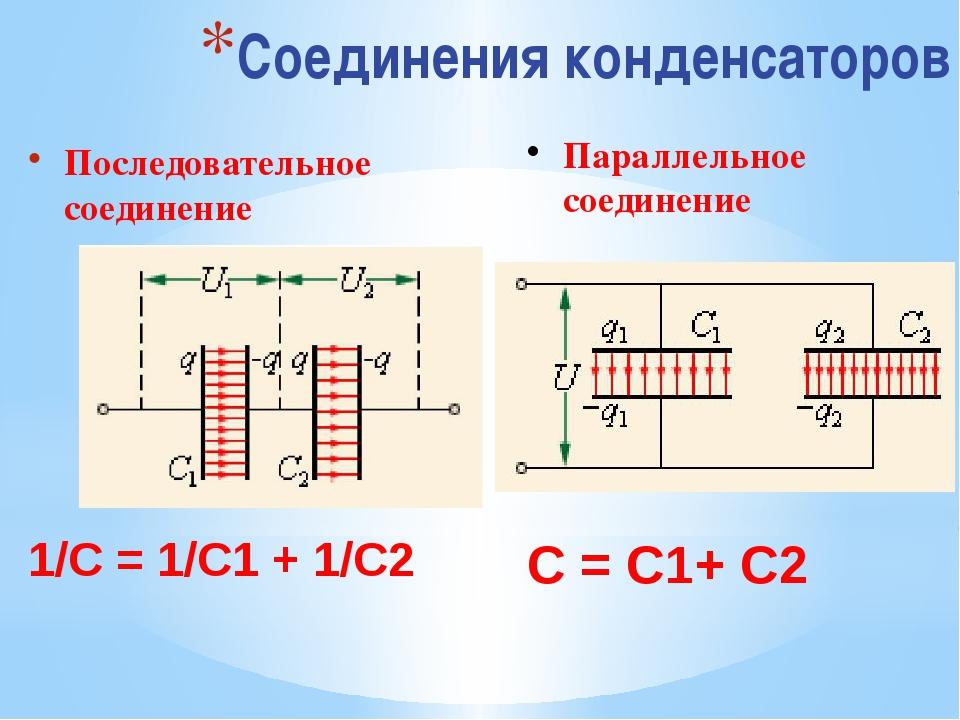 Соединения конденсаторов Последовательное соединение 1/С = 1/С1 + 1/С2 Паралл...