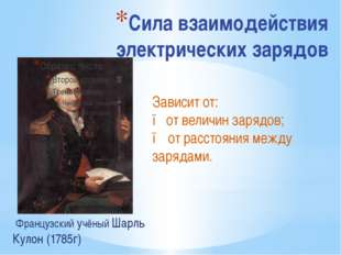 Сила взаимодействия электрических зарядов Французский учёный Шарль Кулон (178
