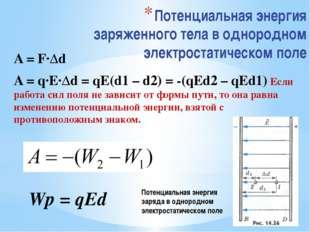 Потенциальная энергия заряженного тела в однородном электростатическом поле A