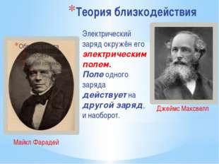 Теория близкодействия Майкл Фарадей Джеймс Максвелл Электрический заряд окруж