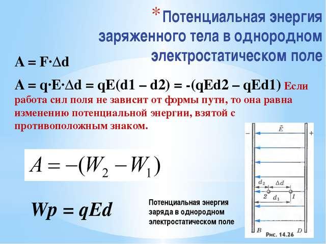 Потенциальная энергия заряженного тела в однородном электростатическом поле A...