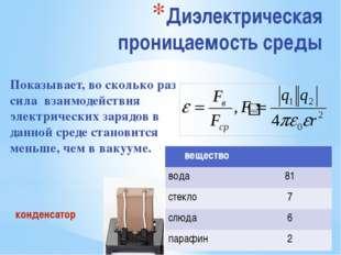 Диэлектрическая проницаемость среды Показывает, во сколько раз сила взаимодей