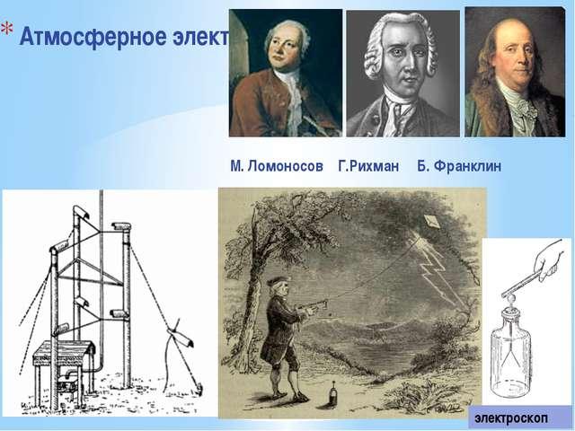 Атмосферное электричество электроскоп М. Ломоносов Г.Рихман Б. Франклин