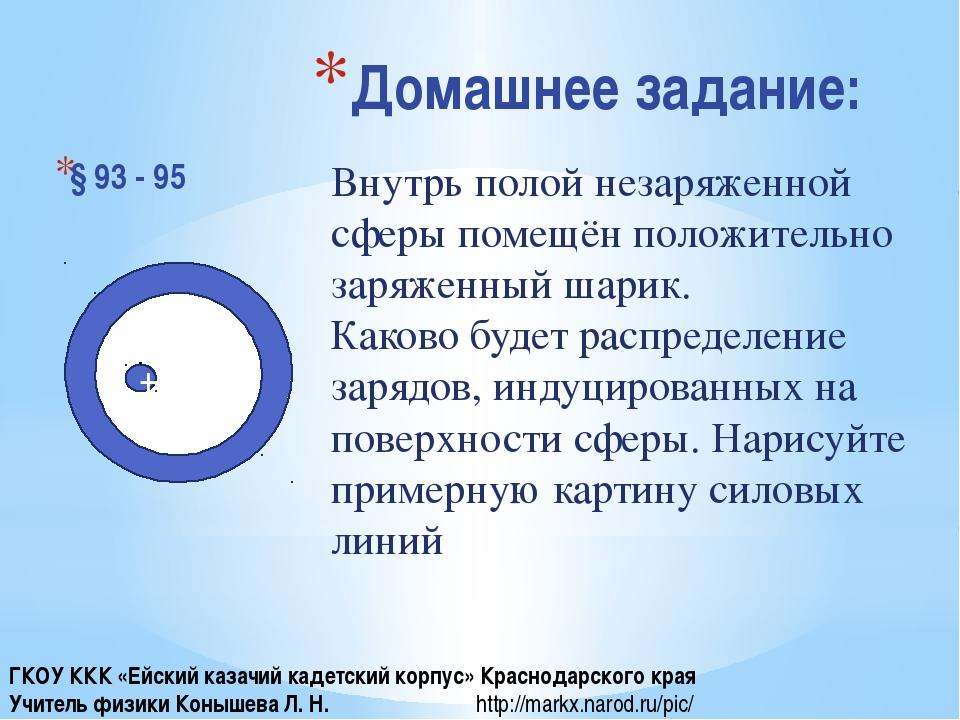 Домашнее задание: § 93 - 95 + Внутрь полой незаряженной сферы помещён положит...