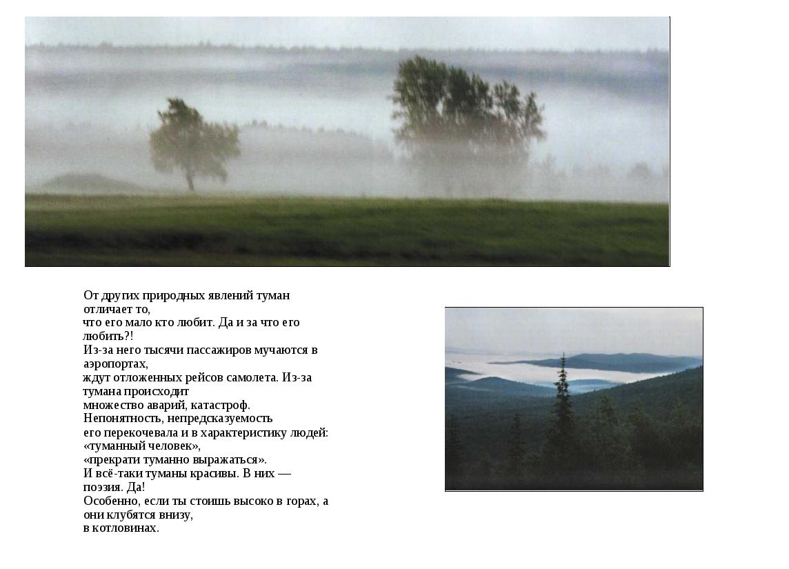 От других природных явлений туман отличает то, что его мало кто любит. Да и з...