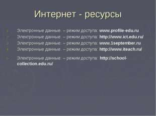 Интернет - ресурсы Электронные данные. – режим доступа: www.profile-edu.ru Эл