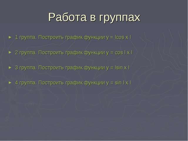 Работа в группах 1 группа. Построить график функции у = lcos x l 2 группа. По...