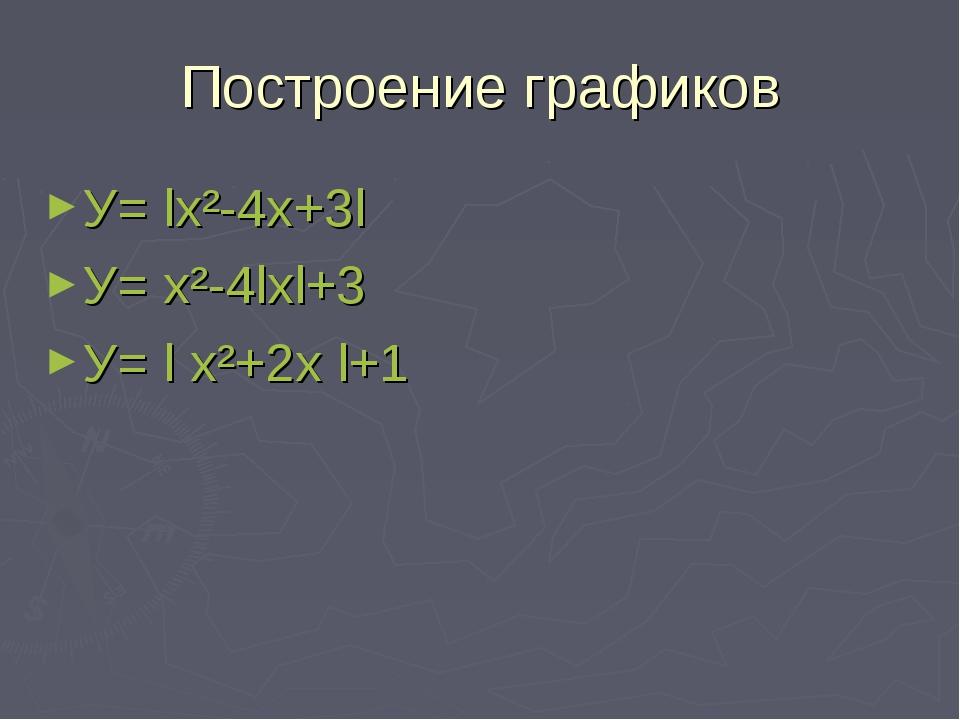 Построение графиков У= lх²-4х+3l У= х²-4lхl+3 У= l х²+2х l+1