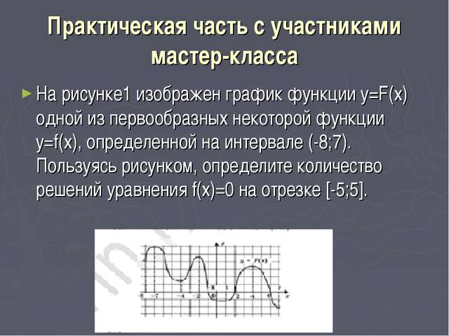 Практическая часть с участниками мастер-класса На рисунке1 изображен график ф...
