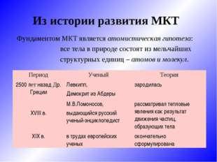 Из истории развития МКТ Фундаментом МКТ является атомистическая гипотеза: в