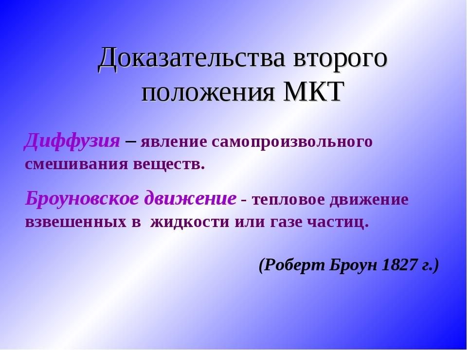 Доказательства второго положения МКТ Диффузия – явление самопроизвольного сме...