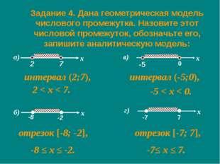 Задание 4. Дана геометрическая модель числового промежутка. Назовите этот чис