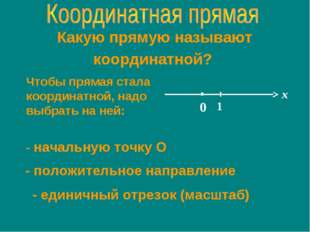 Какую прямую называют координатной? Чтобы прямая стала координатной, надо выб