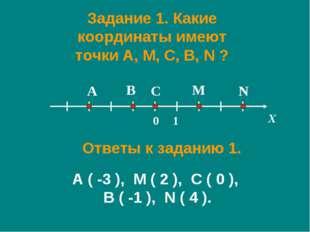 Задание 1. Какие координаты имеют точки A, M, C, B, N ? X A M C B N 0 1 Ответ