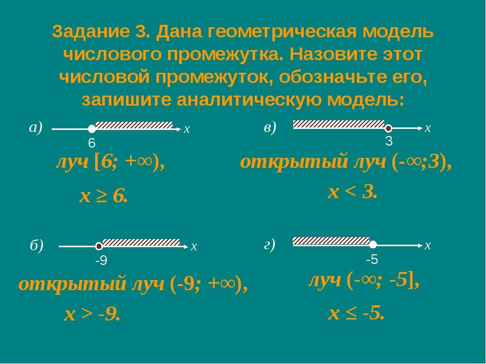 а) Задание 3. Дана геометрическая модель числового промежутка. Назовите этот...