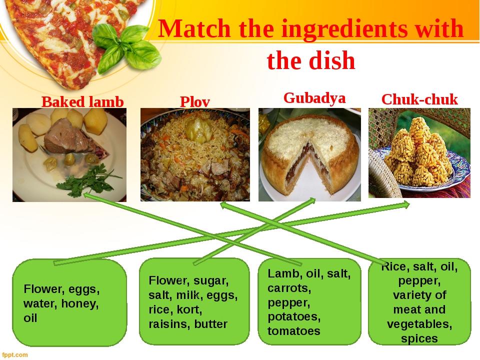 Flower, eggs, water, honey, oil Flower, sugar, salt, milk, eggs, rice, kort,...