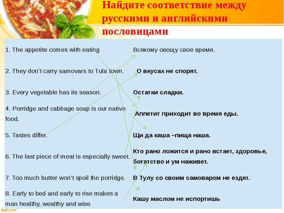 Найдите соответствие между русскими и английскими пословицами. 1. The appetit...