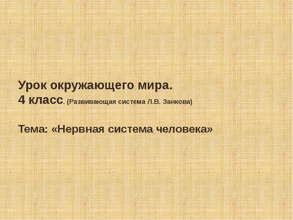 Урок окружающего мира. 4 класс. (Развивающая система Л.В. Занкова) Тема: «Нер...