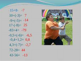 - 15+8= 10+(-3)= -9+(-5)= 17-(-8)= -83+4= -0,5+(-6)= -0,4+1,2= 4,3+(-7)= 43-5
