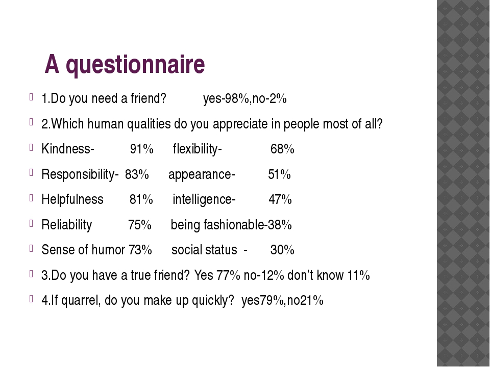A questionnaire 1.Do you need a friend? yes-98%,no-2% 2.Which human qualitie...