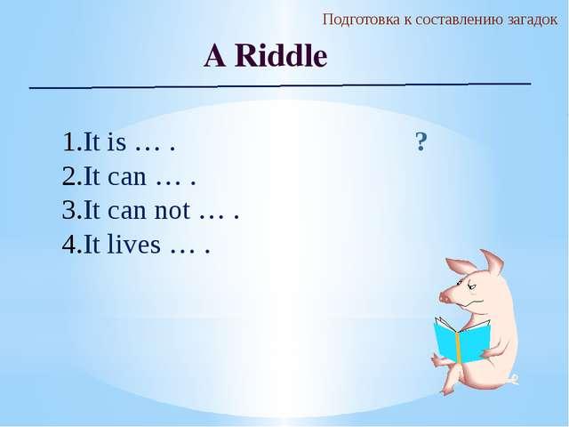 Подготовка к составлению загадок A Riddle It is … . It can … . It can not … ....
