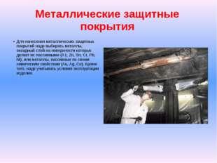 Металлические защитные покрытия Для нанесения металлических защитных покрытий