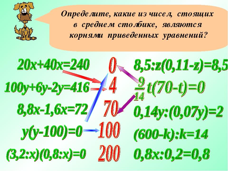 Определите, какие из чисел, стоящих в среднем столбике, являются корнями прив...