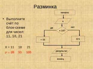 Разминка Выполните счёт по блок-схеме для чисел: 11, 18, 21 Х = 11 18 21 Р =