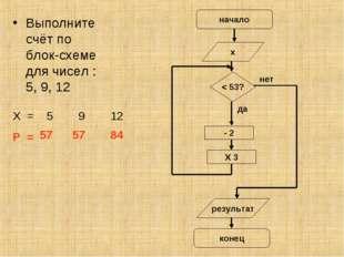 Выполните счёт по блок-схеме для чисел : 5, 9, 12 Х = 5 9 12 Р = 57 57 84