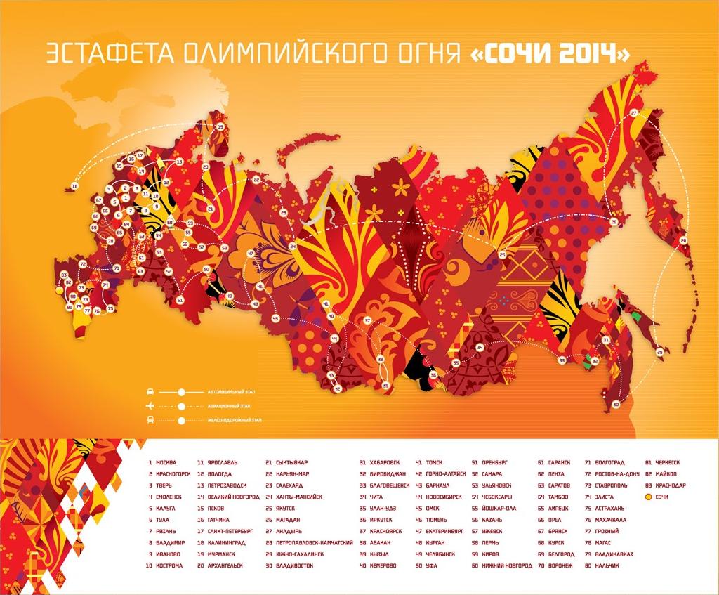Сочи 2014 - эстафета Олимпийского огня