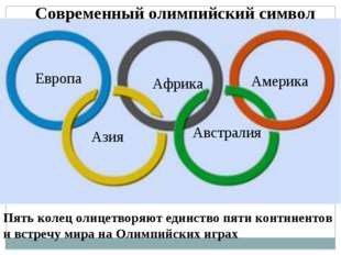 Современный олимпийский символ Пять колец олицетворяют единство пяти континен