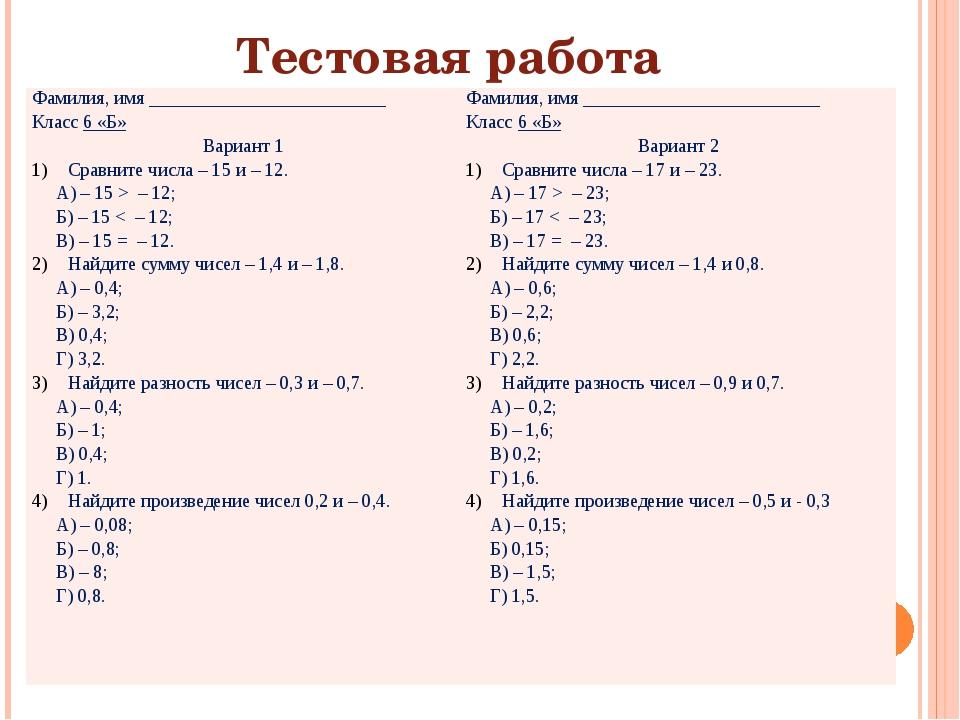 Тестовая работа Фамилия, имя _________________________ Класс6 «Б» Вариант 1 С...