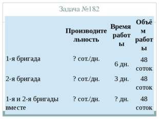 Задача №182 Производительность Время работы Объём работы 1-я бригада ? сот./