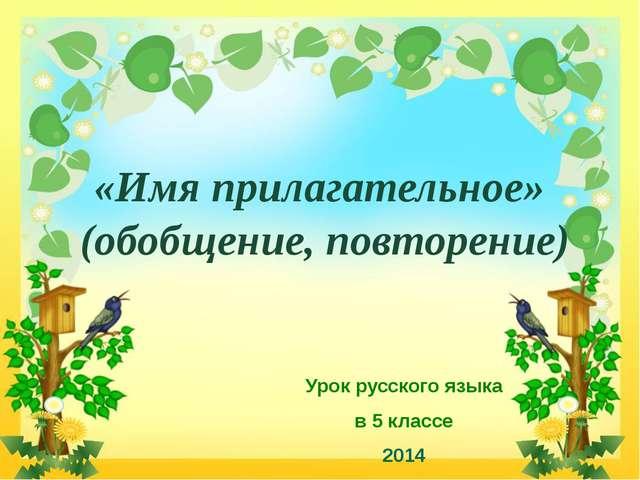 «Имя прилагательное» (обобщение, повторение) Урок русского языка в 5 классе...