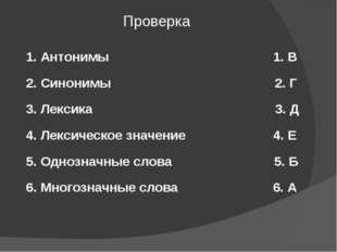 1. Антонимы 1. В 2. Синонимы 2. Г 3. Лексика 3. Д 4. Лексическое значение 4.