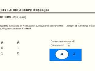 Основные логические операции ИМПЛИКАЦИЯ (логическое следование) Соответствует