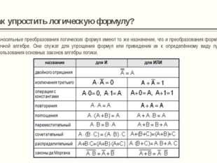 Алгоритм построения таблиц истинности для сложных выражений: Определить колич
