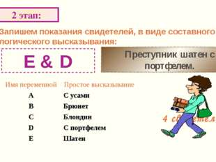 Запишем произведение логических функций: 4 этап: F= (¬B & A ۷ ¬A&B)&(¬C & ¬A