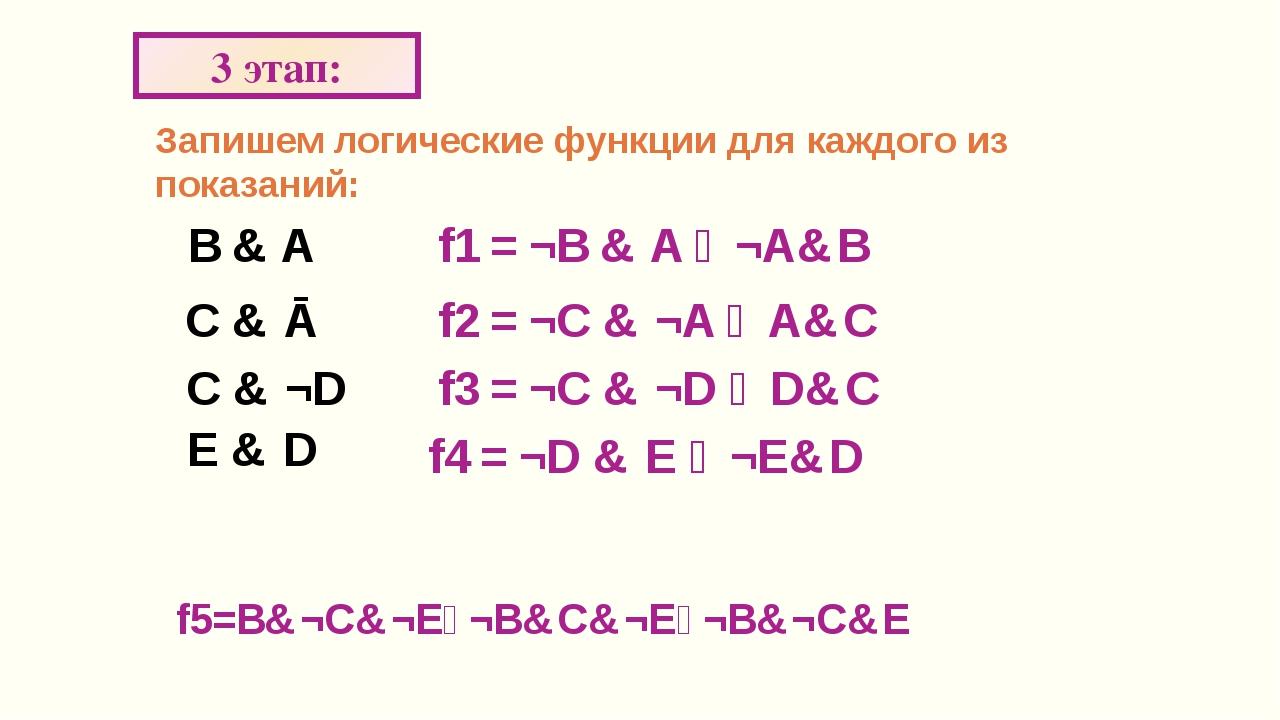 F=1, тогда: 5 этап: A&¬B&C&D&¬Е = 1