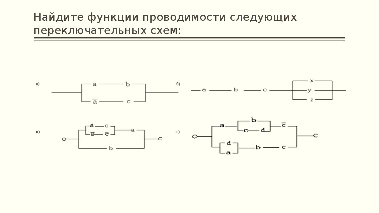 Постройте переключательные схемы с заданными функциями проводимости: 1. (a v...