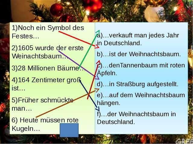 1)Noch ein Symbol des Festes… 2)1605 wurde der erste Weinachtsbaum… 3)28 Mill...