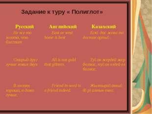 Задание к туру « Полиглот» Русский Английский Казахский Не все то золото,