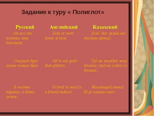 Задание к туру « Полиглот» Русский Английский Казахский Не все то золото,...