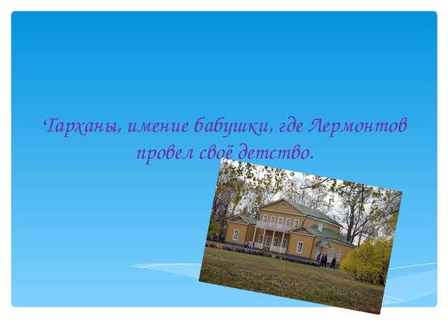 Тарханы, имение бабушки, где Лермонтов провел своё детство.