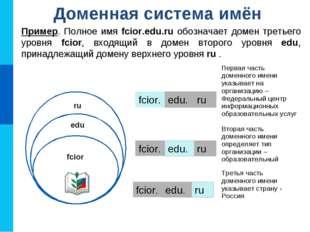 Доменная система имён Пример. Полное имя fcior.edu.ru обозначает домен третье